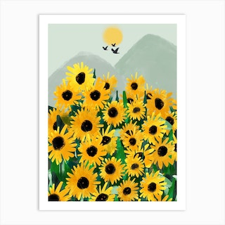 Yellow Blooms By The Mountain Art Print