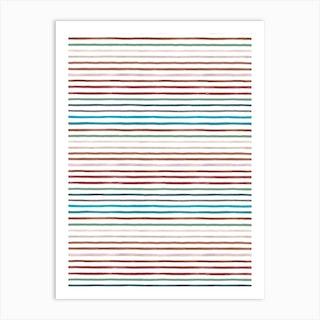 Marker Stripes Colorful Red Blue Art Print