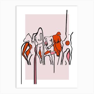 Nudists Pink Art Print