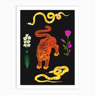 Tiger And Snakes Flowers Art Print
