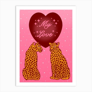 My Love Pink Leopards Art Print