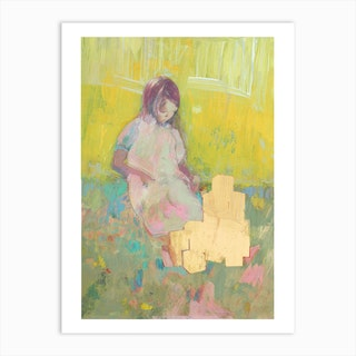 Girl And Building Blocks Art Print