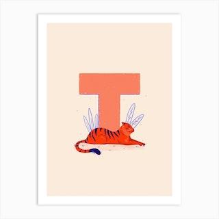 Letter T Tiger Art Print