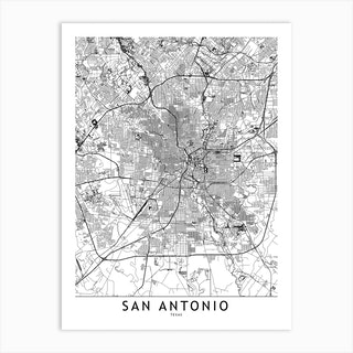 San Antonio White Map Art Print