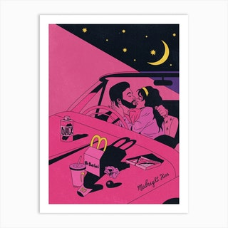 Midnight Car Kiss Plan De Travail Art Print