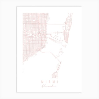 Miami Florida Light Pink Minimal Street Map Art Print