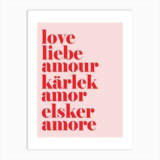 Love Liebe Red Pink Art Print