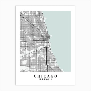 Chicago Illinois Street Map Minimal Color Art Print