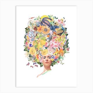 Marina Watercolour Collage Art Print