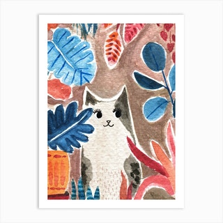 Cat With House Plants Art Print