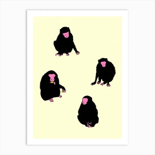 Four Monkeys Art Print