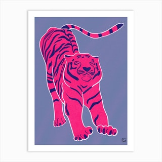 Tiger Doesnt Lose Sleep Pink And Blue Art Print
