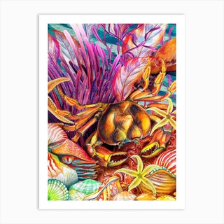 Just Keep Swimming Crab Art Print