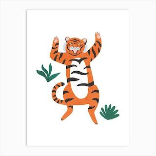Yelling Tiger Art Print
