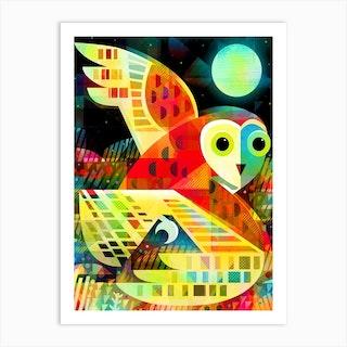 Owl Flying Over Heath Art Print
