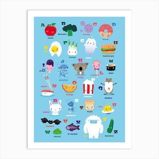 Nursery Kawaii Abc Art Print