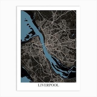 Liverpool Black Blue Art Print