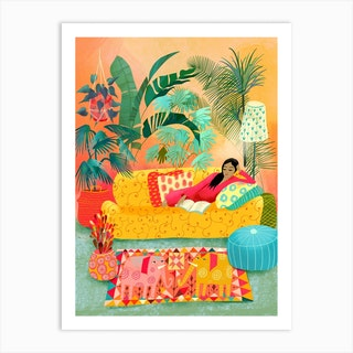 Woman Reading In Tropical Living Room Art Print