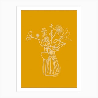 Flowers And Leaves In Yellow Art Print