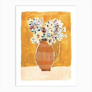 Mustard And Dusky Pink   Floral Vase Art Print
