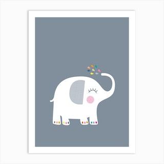 Rainbow Grey Elephant Art Print