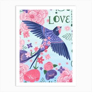 Love Bird And Flowers Art Print