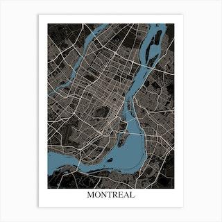 Montreal Black Blue Art Print