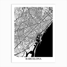 Barcelona White Black Art Print