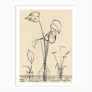 Line Drawing Leaves 2 Art Print
