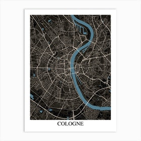 Cologne Black Blue Art Print