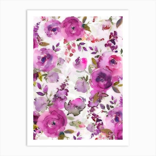 Lush Purple Watercolor Roses Art Print