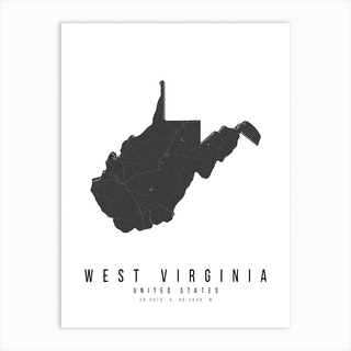 West Virginia Mono Black And White Modern Minimal Street Map Art Print