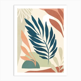 Earthy Tropical Foliage Blue 6 Art Print