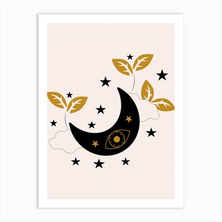 Moon Eyes Stars Clouds And Plants Art Print