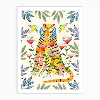 Tiger An Birds Art Print