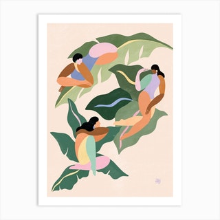 Girls On Plants Art Print
