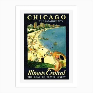 Chicago Illinois Central Poster Art Print