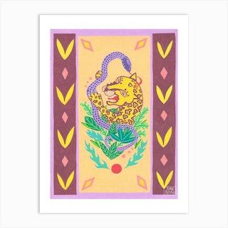 Purple Snake And Leopard Art Print