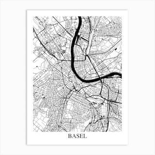 Basel White Black Art Print