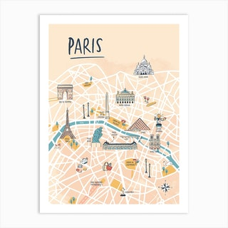 Paris Illustrated Map Art Print