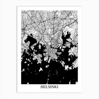 Helsinki White Black Art Print
