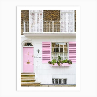 Pastel Pink Door London Art Print