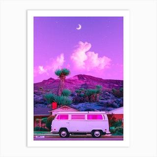 Purple Retro Landscape Art Print