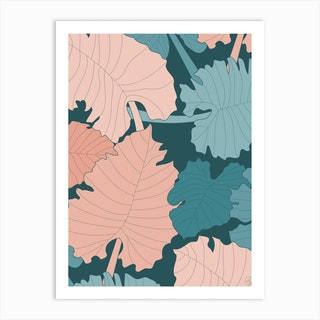 Elephant Ear Leaves Art Print