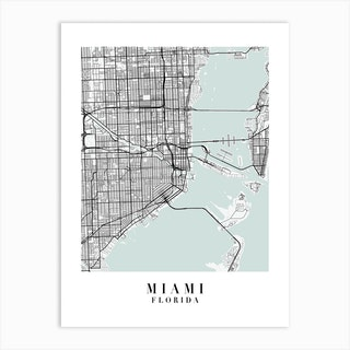 Miami Florida Street Map Minimal Color Art Print