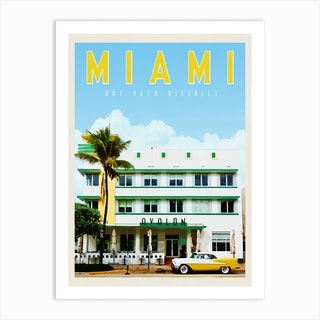 Miami Avalon Hotel Travel Poster Art Print