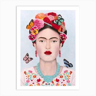 Frida Kahlo With Butterflies Art Print