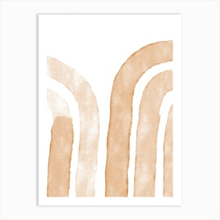 Terracotta Abstract Lines Art Print