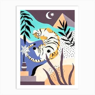 Sleepy Tiger Art Print