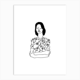 Dress With Flowers Art Print
